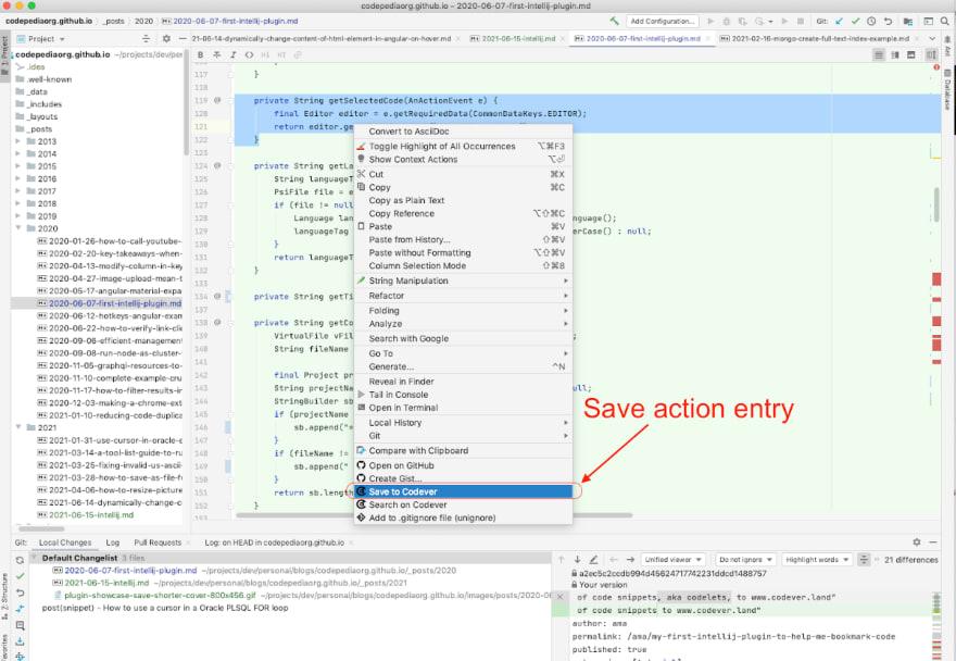 Action icon in right click menu