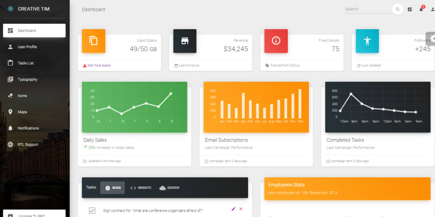 Next.js Template - NextJS Material Dashboard (Free Product).