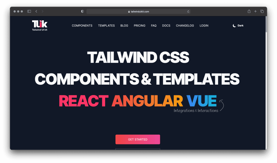 Screenshot of Tailwind UI Kit website