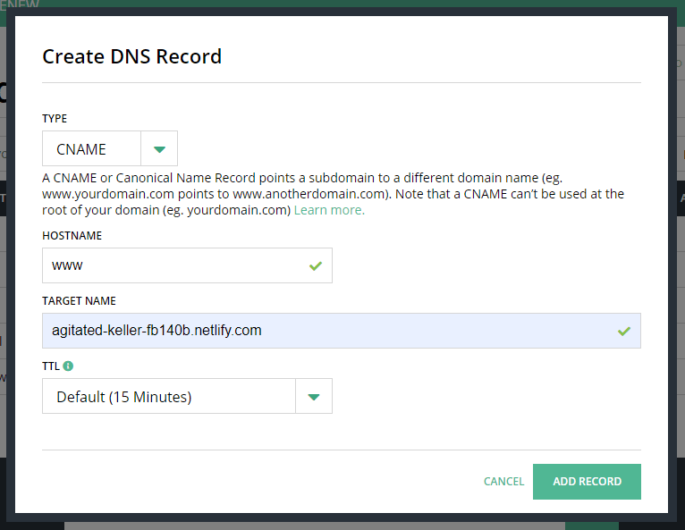 Creating a DNS record on Hover for www subdomain. Type is CNAME, Hostname is WWW, Target name is a default Netlify subdomain, and Time to Live (TTL) is Default 15 minutes.