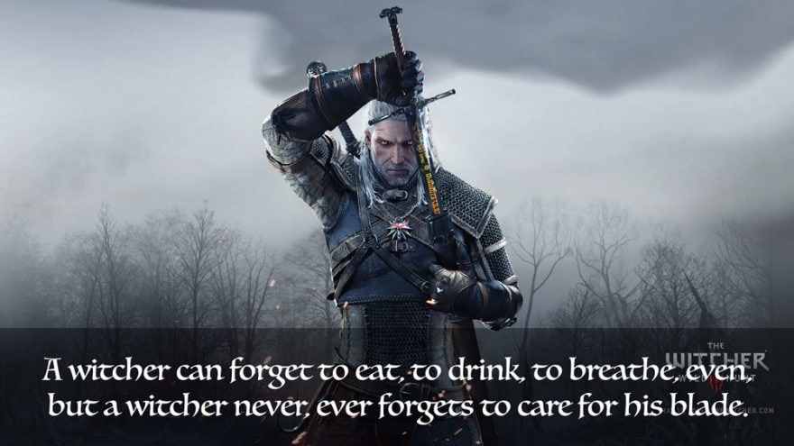 A witcher never ever forgets to take care of his blade