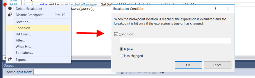 Setting a conditional breakpoint in Visual Studio