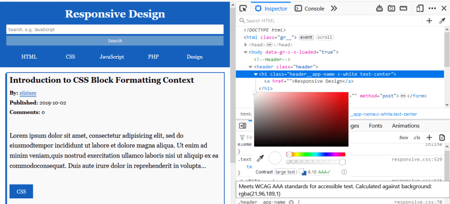 Color picker in firefox developer tools