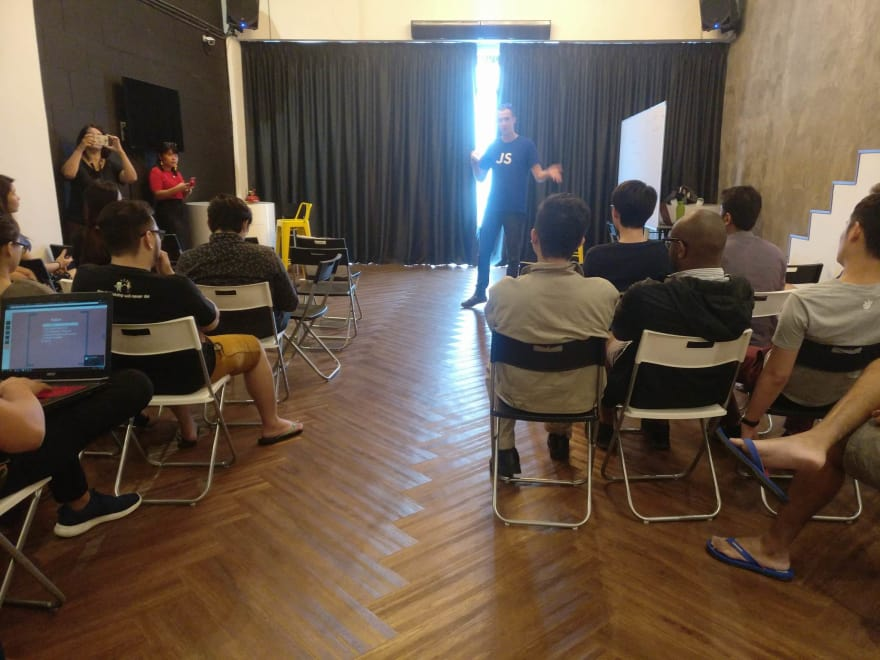 Photo: Seb presenting a brown bag lunch session at NEXT Academy Kuala Lumpur