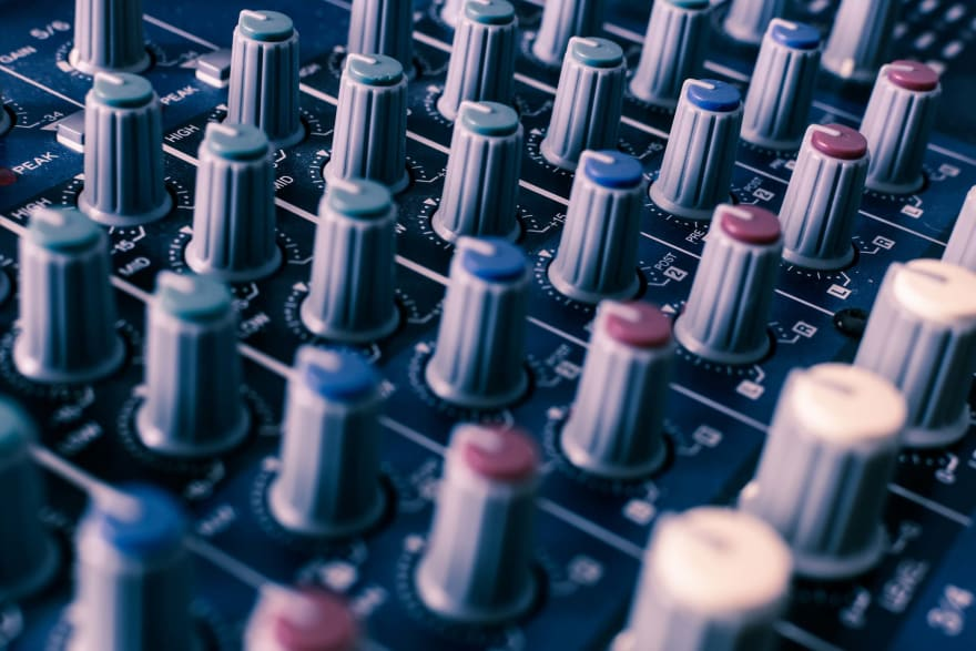 Knobs on a sound mixing panel