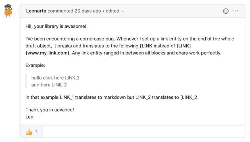 Screenshot of bug report on GitHub