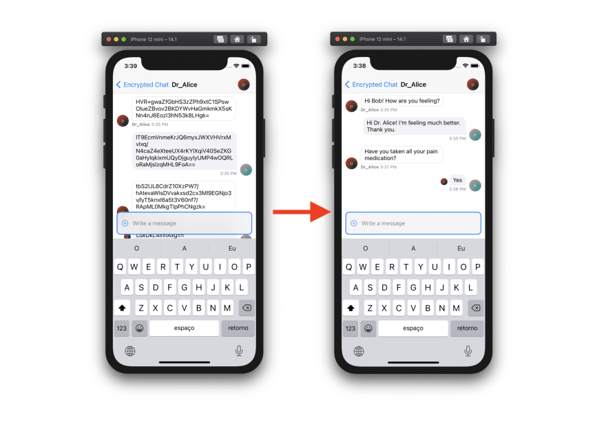 Image shows two chat screens, one with messages encrypted and the other with messages decrypted