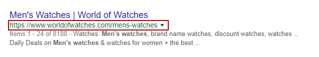 Piece of a Google search page result with the link and a highlight with red borders indicating the URL
