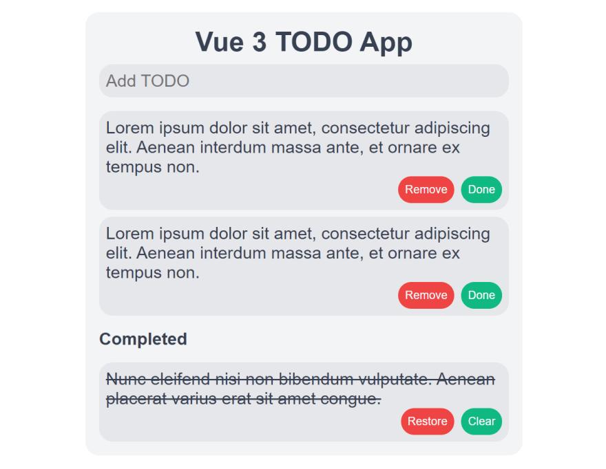 Vue 2 TODO app preview