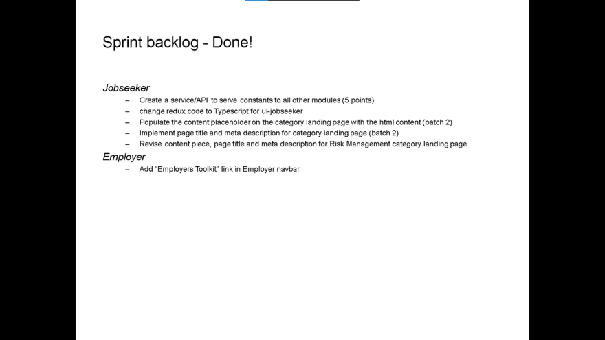 Sprint 63 slide for done stories. Refer to the markdown source above for its contents