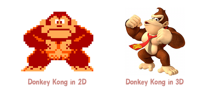 A 2 D version of Donkey Kong displays on the left. A 3 D version of Donkey Kong displays on the right.