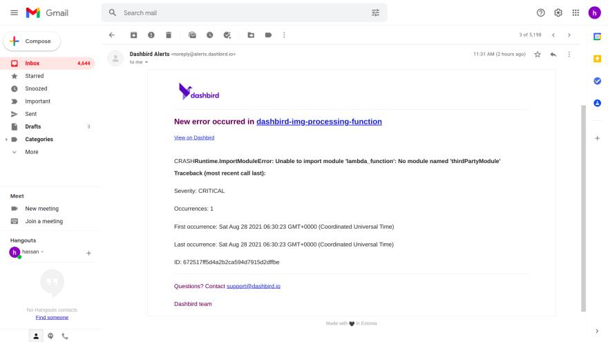 lambda configuration error alert