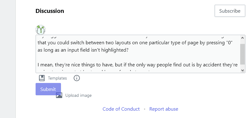 forem comment with glitching controls