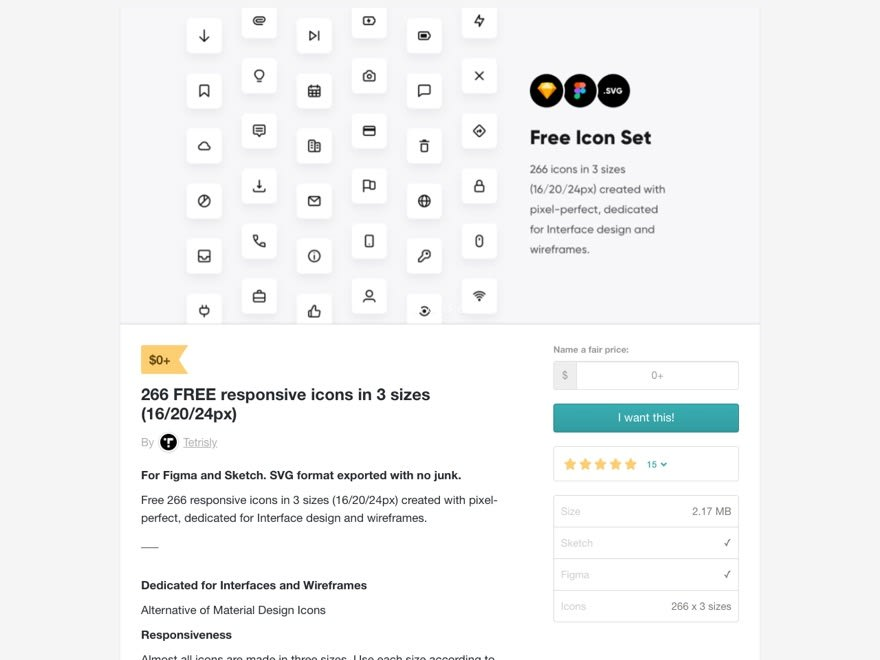 266 FREE responsive icons