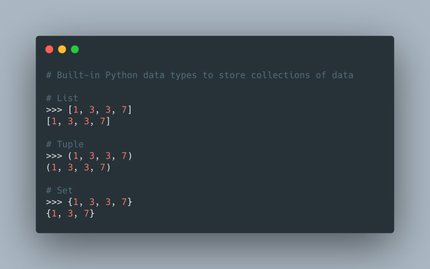 Python built-in data types to store collections of data