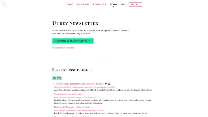 UI Dev Newsletter
