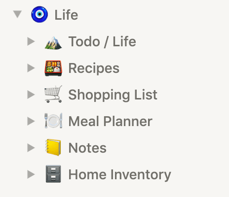 Screenshot of Notion sidebar with Life page and nested pages