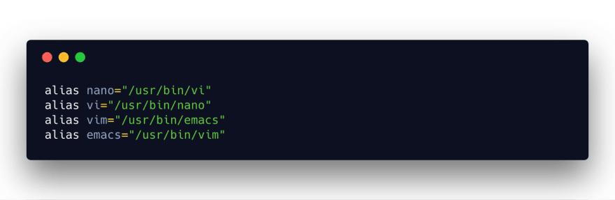 Vim opens Emacs, nano opens Vi, etc.