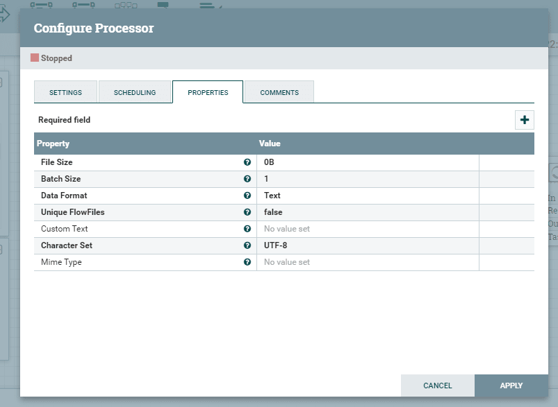 Configure Generate Flow File
