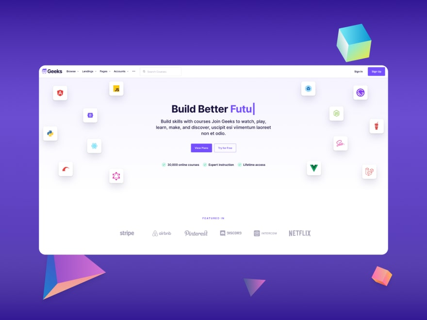 Geeks Bootstrap UI kit - Effective Landing Page Design Examples