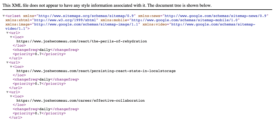 An HTML-like document shows a bunch of unintelligible markup. Upon close scrutiny, URLs from my blog can be seen.