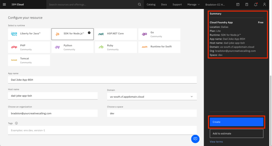 Create-Cloud-Foundry-App-Create