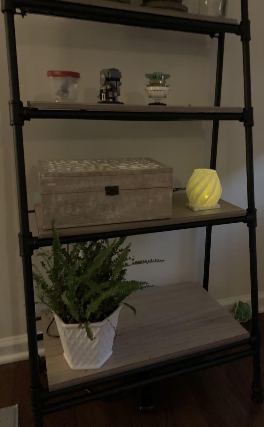 Weather Lamp and Raspberry Pi on shelf