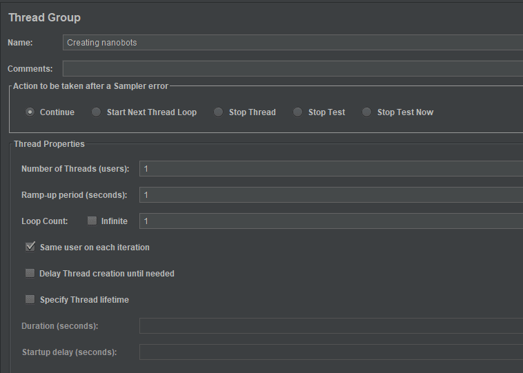 Thread Group settings