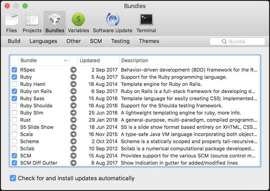 Configuration window in TextMate 2