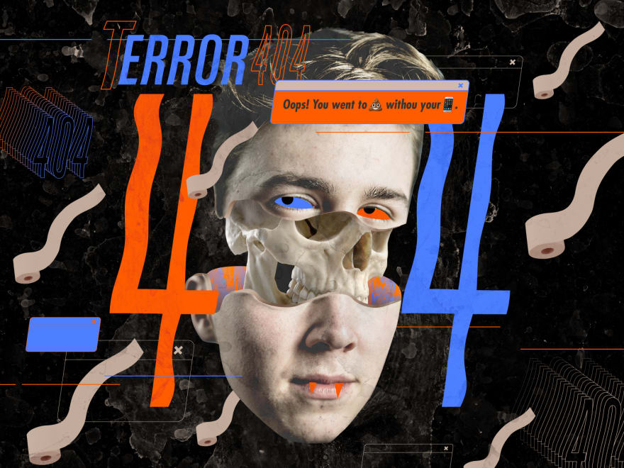 Creepy kid face landing page for 404 errors in blue and orange with the middle of his face split open and a white skull showing graphically not realistically but very spooky