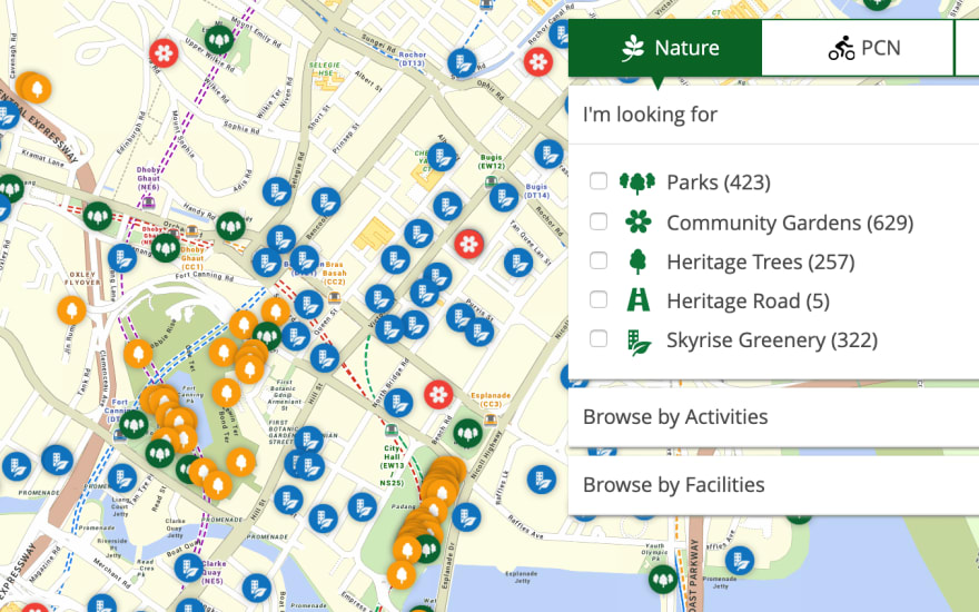 NParks site showing parks, community gardens, heritage trees, heritage road and skyrise greenery