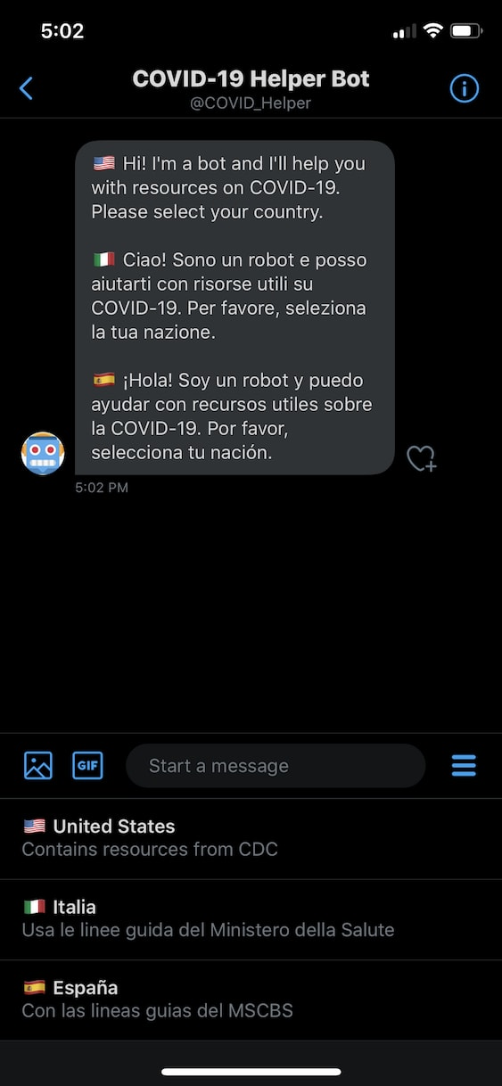 Screenshot of a Twitter direct message with a chat bot. In this screenshot, the chatbot is using a multi-language welcome message to greet a Twitter user the first time they start a conversation. Three quick reply options (one per language) are also shown.