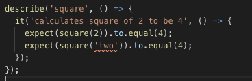 Screenshot of the source code of helpers.test.ts in Microsoft's Visual Studio Code editor, clearly showing an error signal on line 3, where the function square is called with a string as the argument