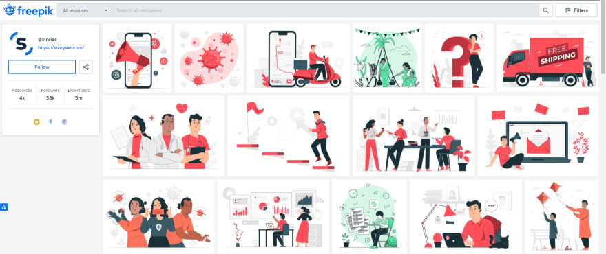 Screenshot of Stories by freepik