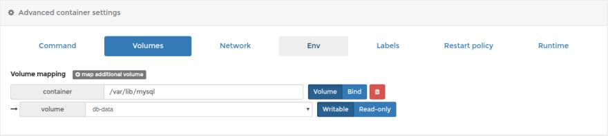 Attach db-data volume to docker host