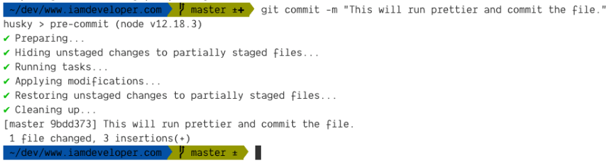A Git pre-commit hook running lint-staged tasks
