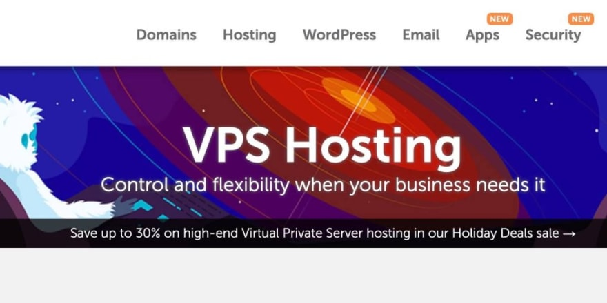 namecheap vps hosting landing page with white furry monster in space