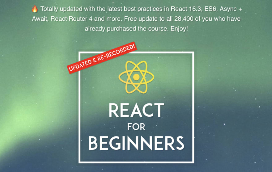 Graphic says, React for Beginners