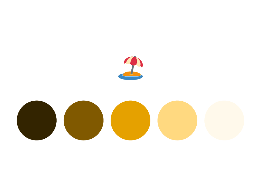 5 orange circles, their colors moving from light to dark, and a beach umbrella emoji