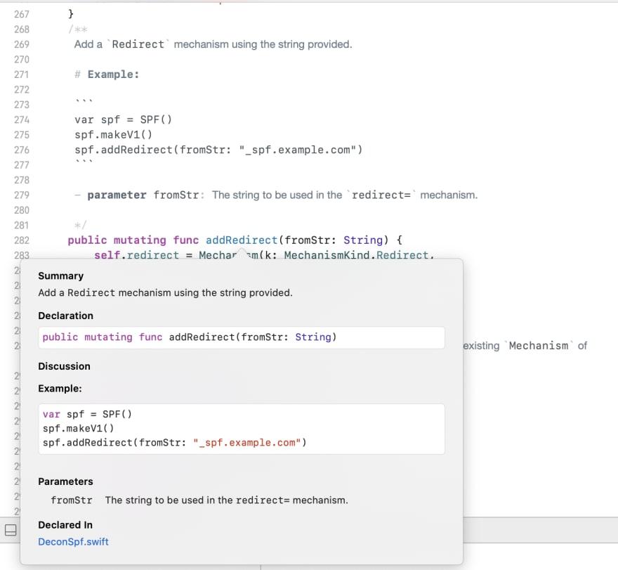 Swift Documentation Popup