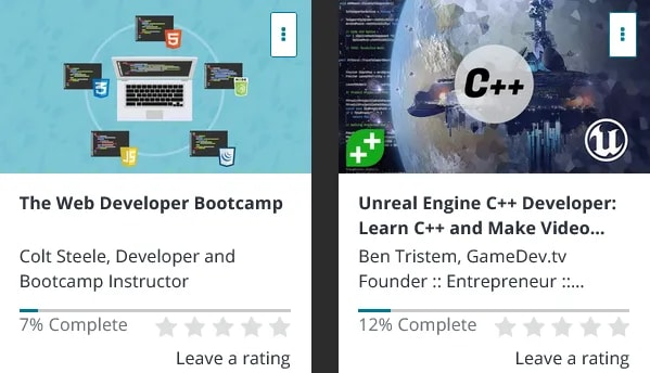 Two of the Udemy courses I once purchased but never finished.