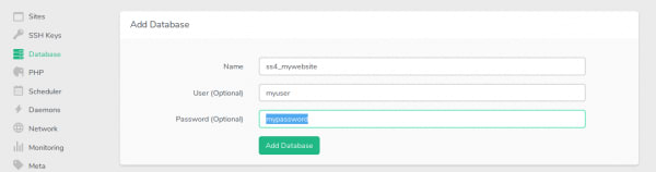 Froge form to create a new database for your SilverStripe 4 project