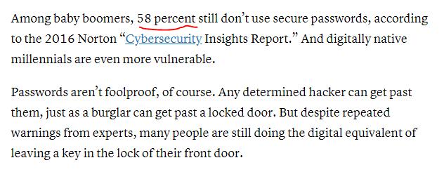 Not using safe passwords