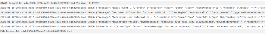 Alt Failed invocation of the sample application with resulting log stream