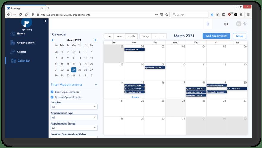 calendar management dashboard