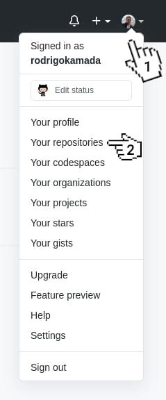 GitHub Menu - Your repositories