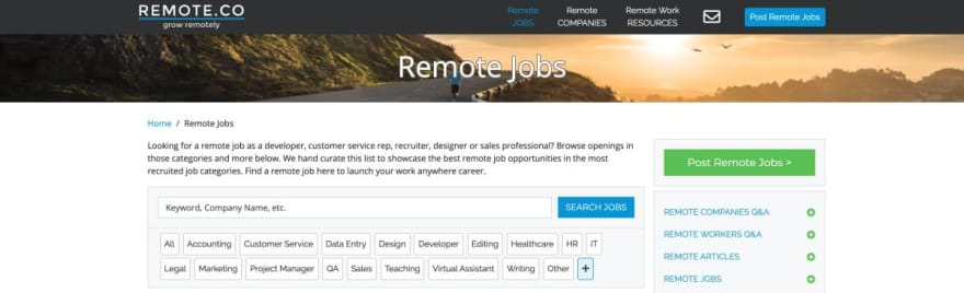 Remote.co website