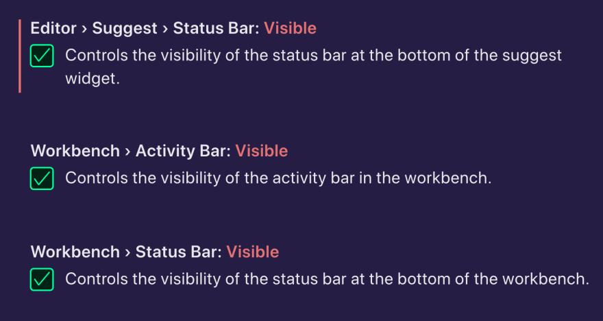 Screenshot of Bar Settings in VS Code editor.