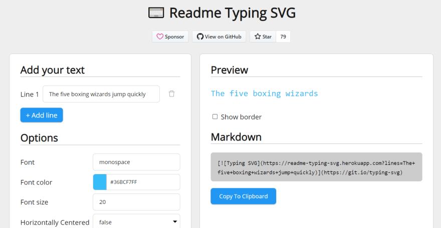 Foto do gerador de SVG com animação de digitação