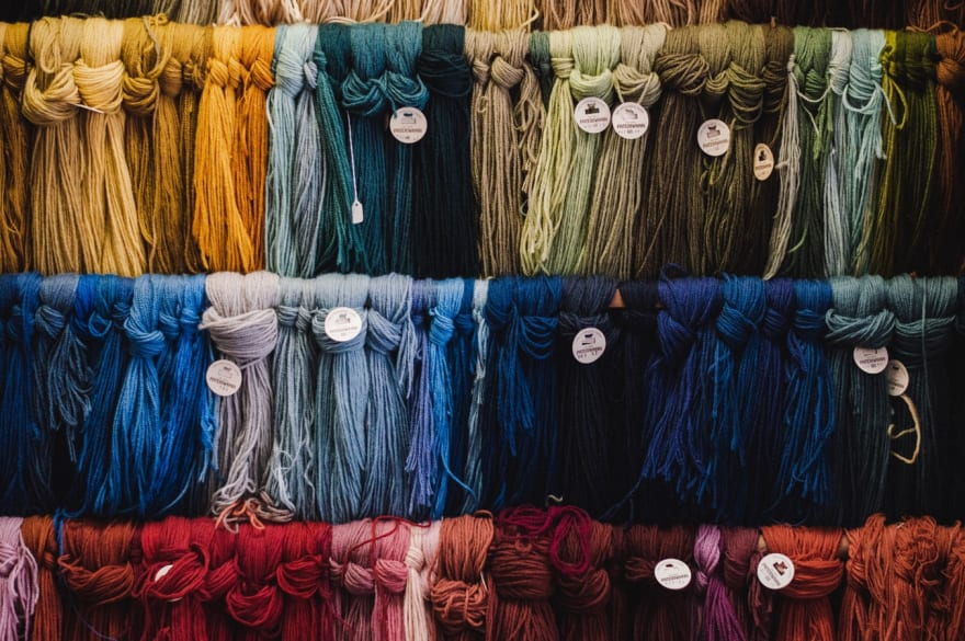 Aesthetic photo of yarn for sale in a market